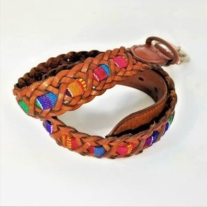 Fossil Braided Brown Leather Belt Guatemalan Med